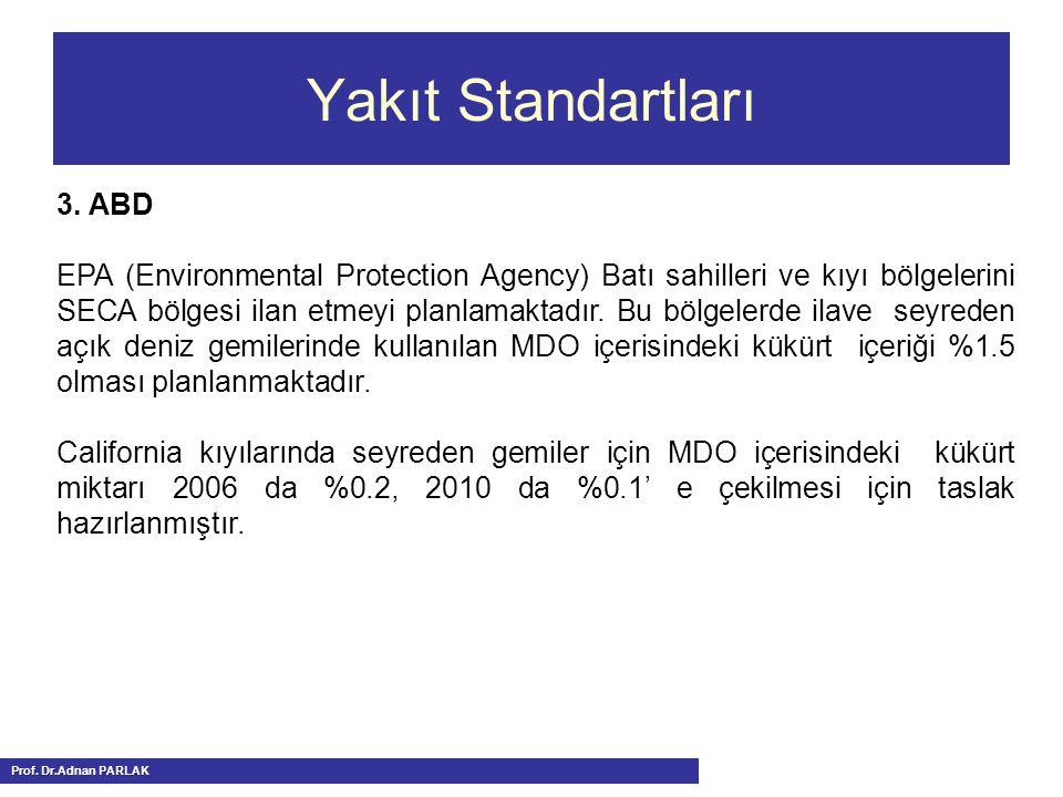 Yakıt Standartları Prof. Dr.Adnan PARLAK 3. ABD EPA (Environmental Protection Agency) Batı sahilleri ve kıyı bölgelerini SECA bölgesi ilan etmeyi plan