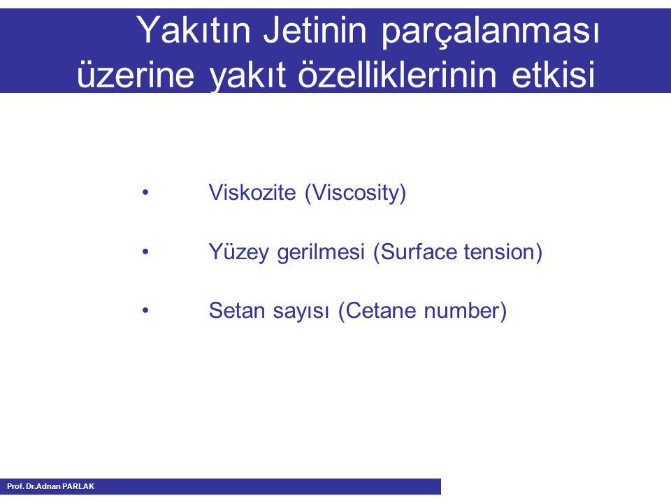 Yakıtın Jetinin parçalanması üzerine yakıt özelliklerinin etkisi Viskozite (Viscosity) Yüzey gerilmesi (Surface tension) Setan sayısı (Cetane number) Prof.