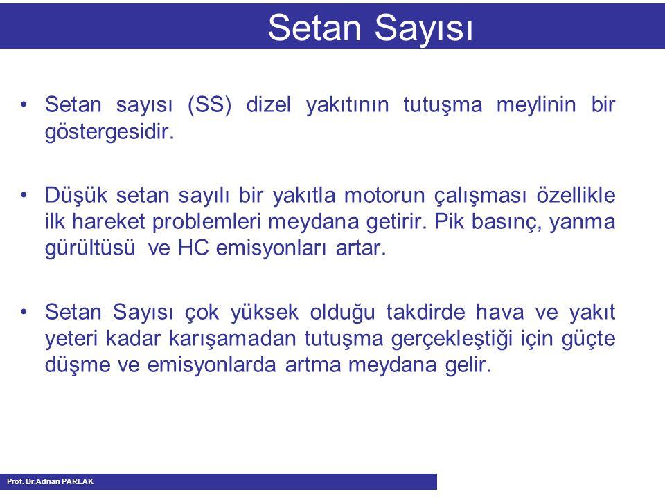 Setan Sayısı Setan sayısı (SS) dizel yakıtının tutuşma meylinin bir göstergesidir.