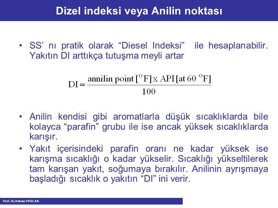 """Dizel indeksi veya Anilin noktası SS' nı pratik olarak """"Diesel Indeksi"""" ile hesaplanabilir. Yakıtın DI arttıkça tutuşma meyli artar Anilin kendisi gib"""