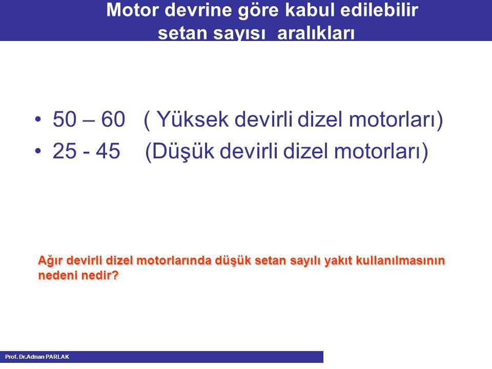 Motor devrine göre kabul edilebilir setan sayısı aralıkları 50 – 60 ( Yüksek devirli dizel motorları) 25 - 45 (Düşük devirli dizel motorları) Ağır devirli dizel motorlarında düşük setan sayılı yakıt kullanılmasının nedeni nedir.