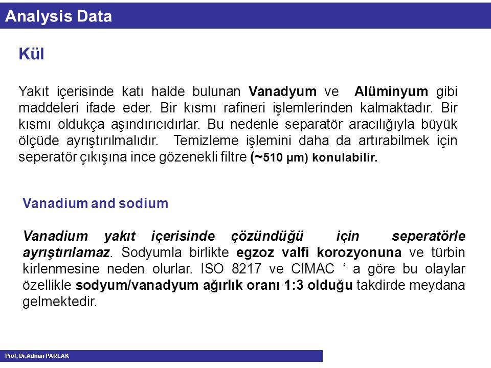 Analysis Data Vanadium and sodium Vanadium yakıt içerisinde çözündüğü için seperatörle ayrıştırılamaz. Sodyumla birlikte egzoz valfi korozyonuna ve tü