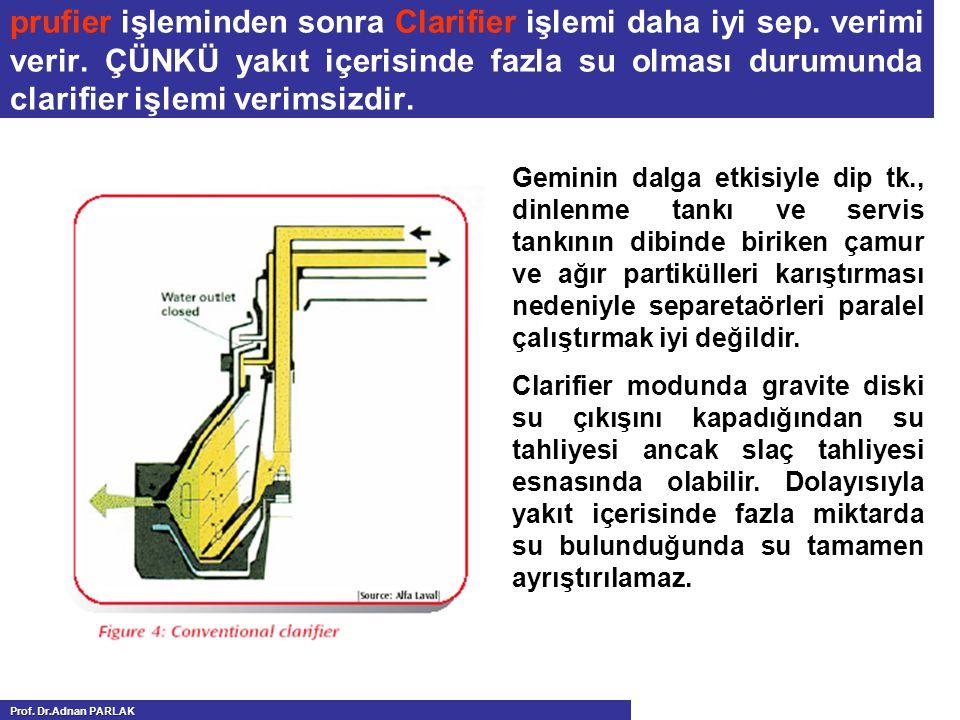 prufier işleminden sonra Clarifier işlemi daha iyi sep. verimi verir. ÇÜNKÜ yakıt içerisinde fazla su olması durumunda clarifier işlemi verimsizdir. G