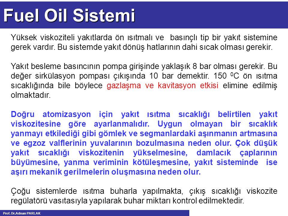 Fuel Oil Sistemi Yüksek viskoziteli yakıtlarda ön ısıtmalı ve basınçlı tip bir yakıt sistemine gerek vardır. Bu sistemde yakıt dönüş hatlarının dahi s