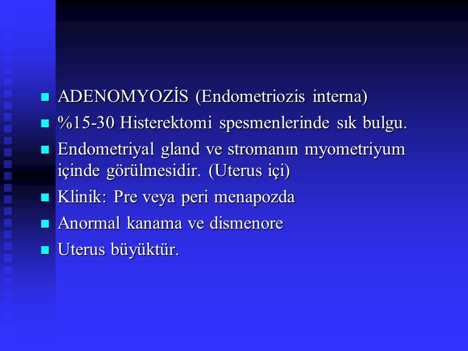 ADENOMYOZİS (Endometriozis interna) ADENOMYOZİS (Endometriozis interna) %15-30 Histerektomi spesmenlerinde sık bulgu.