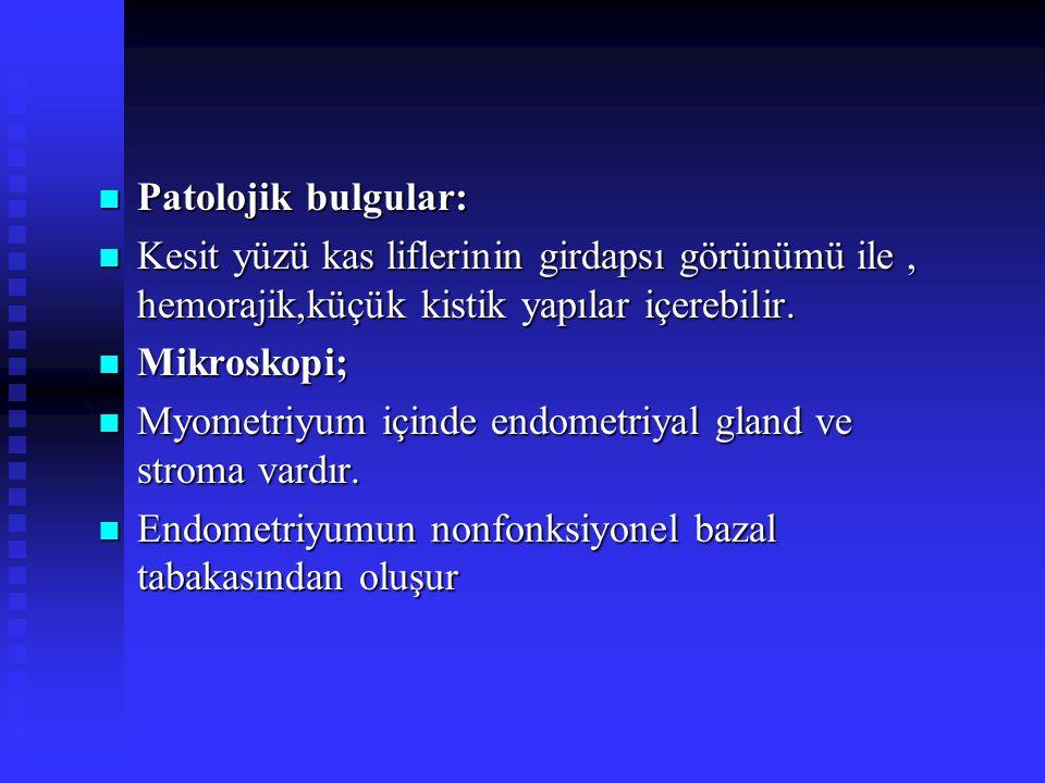 Spesifik subtipleri Spesifik subtipleri 1) Mitotik aktif leiomyom 1) Mitotik aktif leiomyom 2)Selüler leiomyom 2)Selüler leiomyom 3) Atipik leiomyom(Symplastik) 3) Atipik leiomyom(Symplastik) 4)Epiteloid leiomyom 4)Epiteloid leiomyom 5) miksoid leiomyom 5) miksoid leiomyom 6)Vasküler leiomyom 6)Vasküler leiomyom