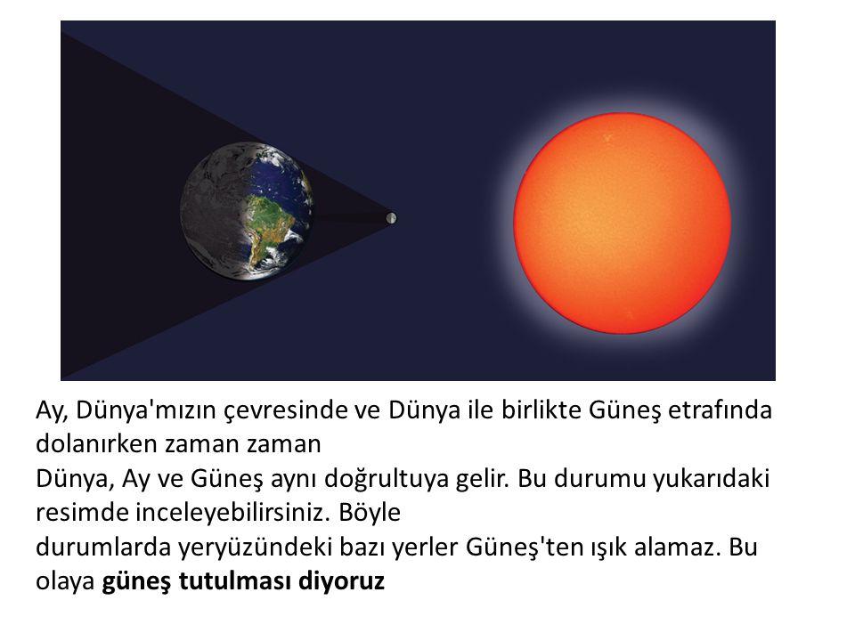 Ay, Dünya'mızın çevresinde ve Dünya ile birlikte Güneş etrafında dolanırken zaman zaman Dünya, Ay ve Güneş aynı doğrultuya gelir. Bu durumu yukarıdaki