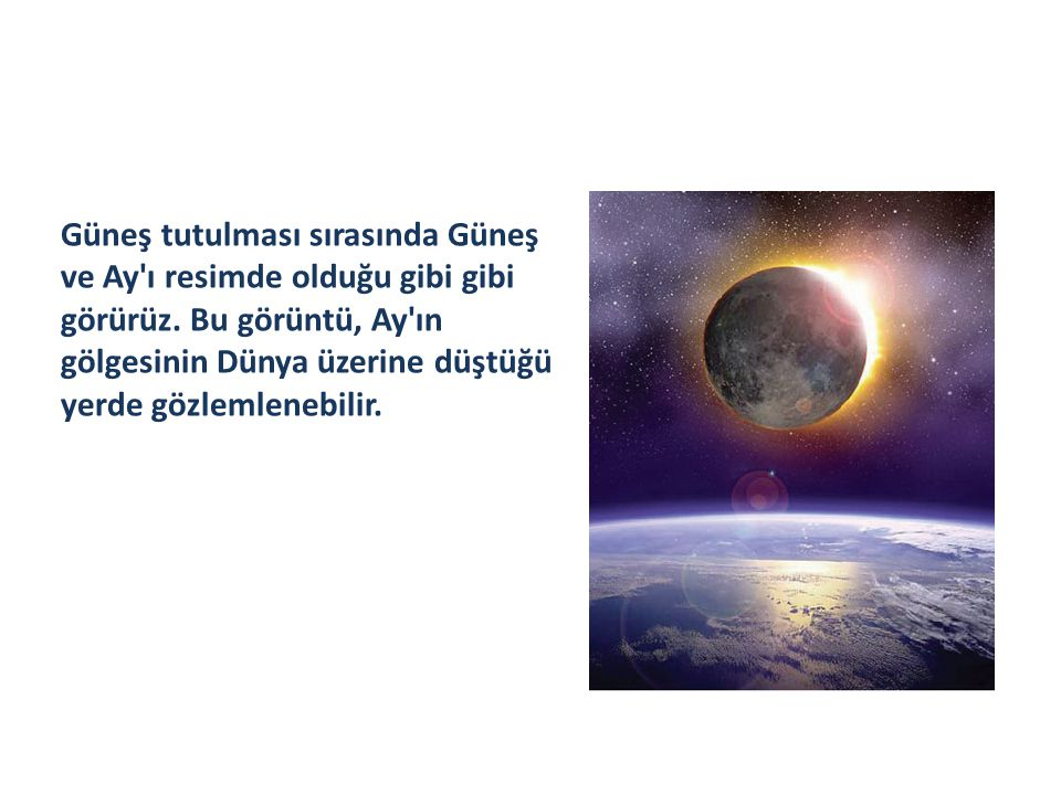 Güneş tutulması sırasında Güneş ve Ay'ı resimde olduğu gibi gibi görürüz. Bu görüntü, Ay'ın gölgesinin Dünya üzerine düştüğü yerde gözlemlenebilir.