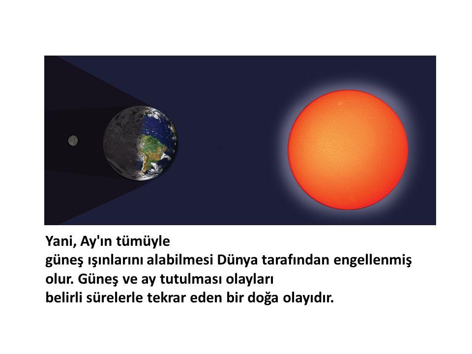 Yani, Ay'ın tümüyle güneş ışınlarını alabilmesi Dünya tarafından engellenmiş olur. Güneş ve ay tutulması olayları belirli sürelerle tekrar eden bir do