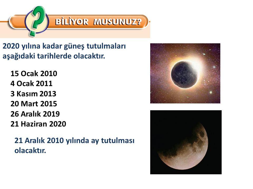 2020 yılına kadar güneş tutulmaları aşağıdaki tarihlerde olacaktır. 15 Ocak 2010 4 Ocak 2011 3 Kasım 2013 20 Mart 2015 26 Aralık 2019 21 Haziran 2020