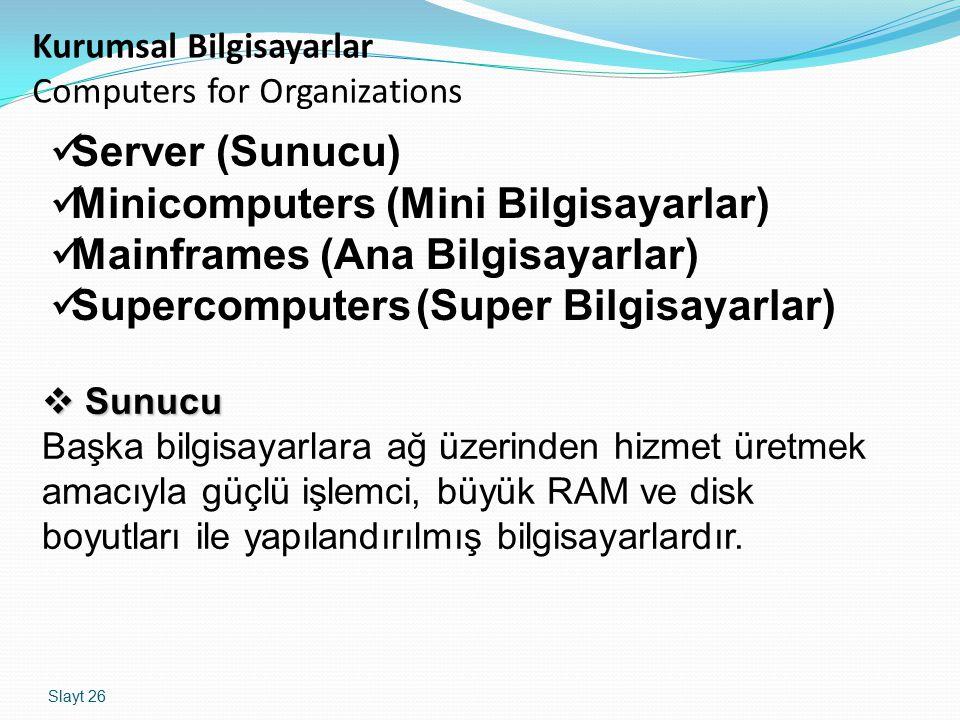 Slayt 26 Kurumsal Bilgisayarlar Computers for Organizations Server (Sunucu) Minicomputers (Mini Bilgisayarlar) Mainframes (Ana Bilgisayarlar) Supercom