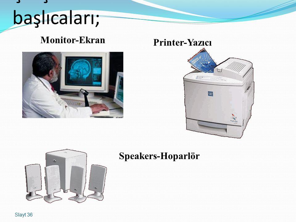 Slayt 36 Çıkış birimlerinin başlıcaları; Monitor-Ekran Printer-Yazıcı Speakers-Hoparlör