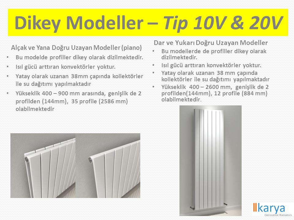 Dikey Modeller – Tip 10V & 20V Alçak ve Yana Doğru Uzayan Modeller (piano) Bu modelde profiller dikey olarak dizilmektedir. Isıl gücü arttıran konvekt
