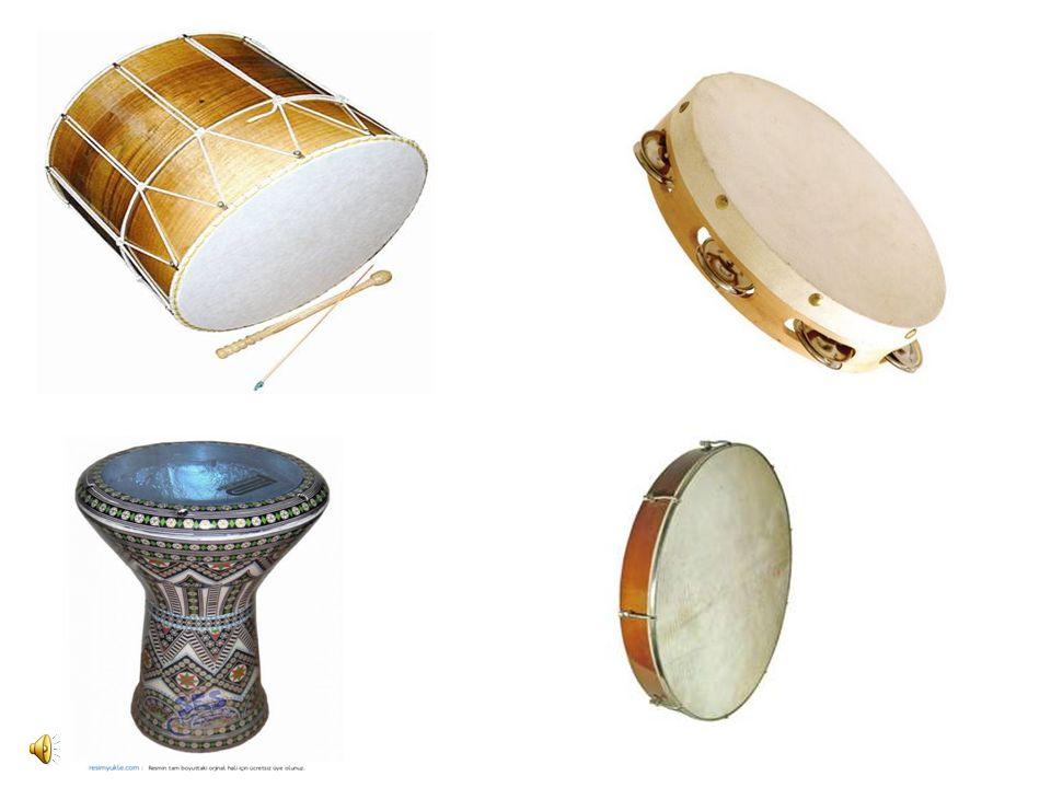 3- Gergin zarlı müzik âletleri: Bir kasnak üzerine gerilmiş zarlardan meydana gelen âletlerdir. Gerginlikleri ve boyu değişmediği için verebildikleri