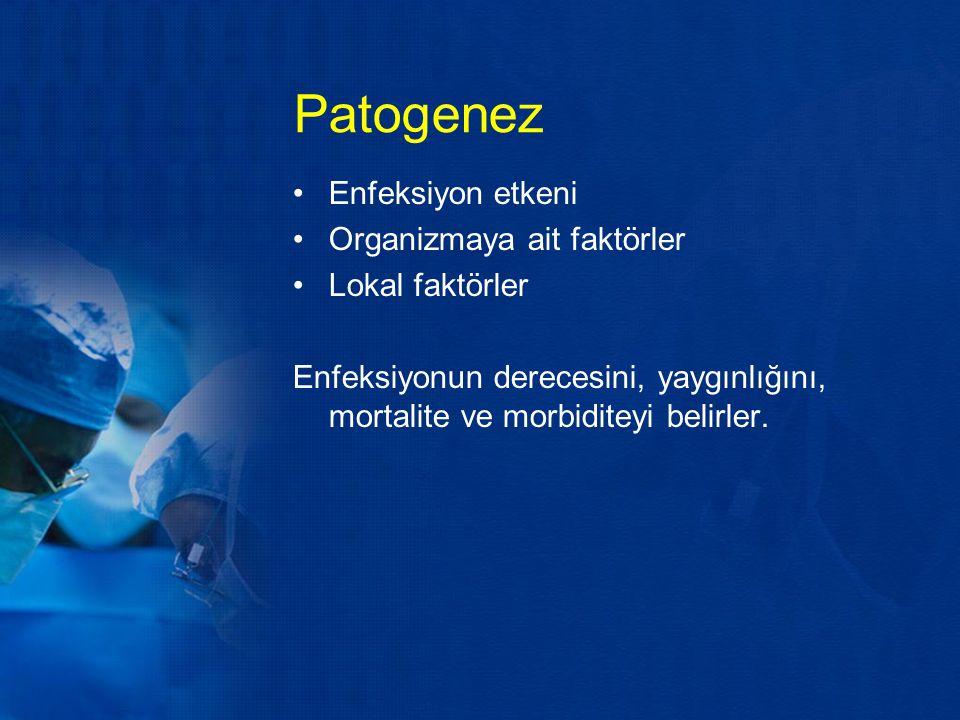 Patogenez Enfeksiyon etkeni Organizmaya ait faktörler Lokal faktörler Enfeksiyonun derecesini, yaygınlığını, mortalite ve morbiditeyi belirler.