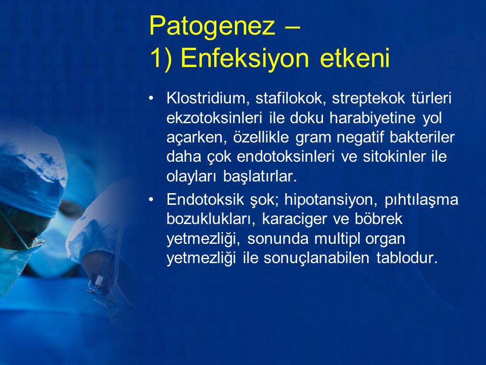Patogenez – 1) Enfeksiyon etkeni Klostridium, stafilokok, streptekok türleri ekzotoksinleri ile doku harabiyetine yol açarken, özellikle gram negatif