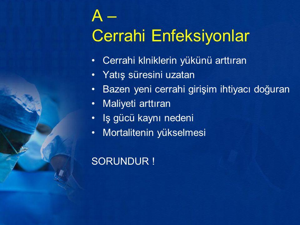 Cerrahi Enfeksiyonlar Cerrahi girişimi izleyen dönemde cerrahi alanı ilgilendiren (yara enfeksiyonu, karın içi apseler vb.) Tedavisi için cerrahi girişim ihtiyacı duyulan enfeksiyonlar (meme apsesi, panaris vb.) Diğer bir grup ise nasokomial enfeksiyonlar Bu başlık altınca inceleyeceğiz konular