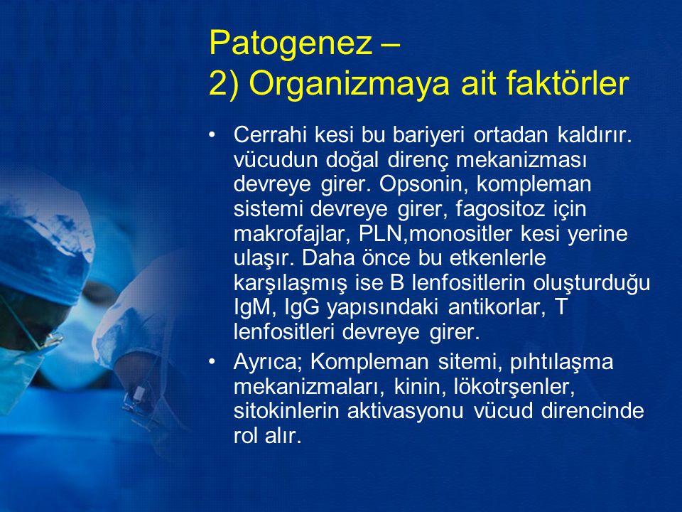 Patogenez – 2) Organizmaya ait faktörler Cerrahi kesi bu bariyeri ortadan kaldırır. vücudun doğal direnç mekanizması devreye girer. Opsonin, kompleman