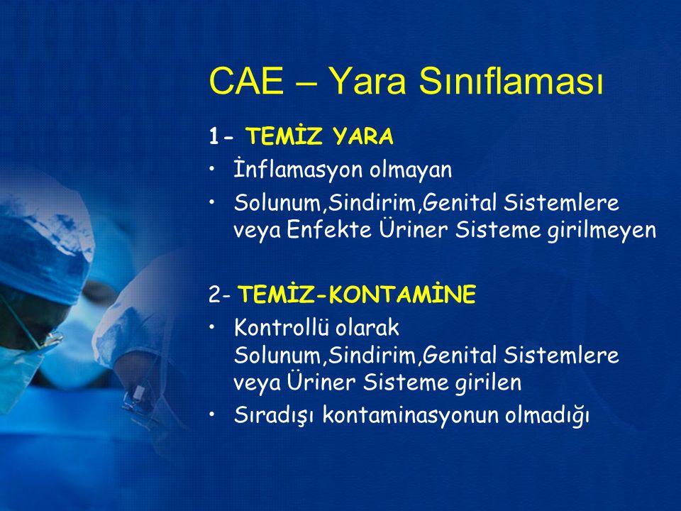 CAE – Yara Sınıflaması 1- TEMİZ YARA İnflamasyon olmayan Solunum,Sindirim,Genital Sistemlere veya Enfekte Üriner Sisteme girilmeyen 2- TEMİZ-KONTAMİNE