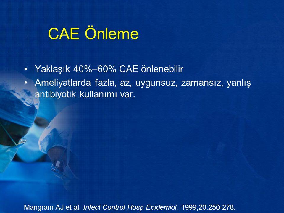 CAE Önleme Yaklaşık 40%–60% CAE önlenebilir Ameliyatlarda fazla, az, uygunsuz, zamansız, yanlış antibiyotik kullanımı var. Mangram AJ et al. Infect Co