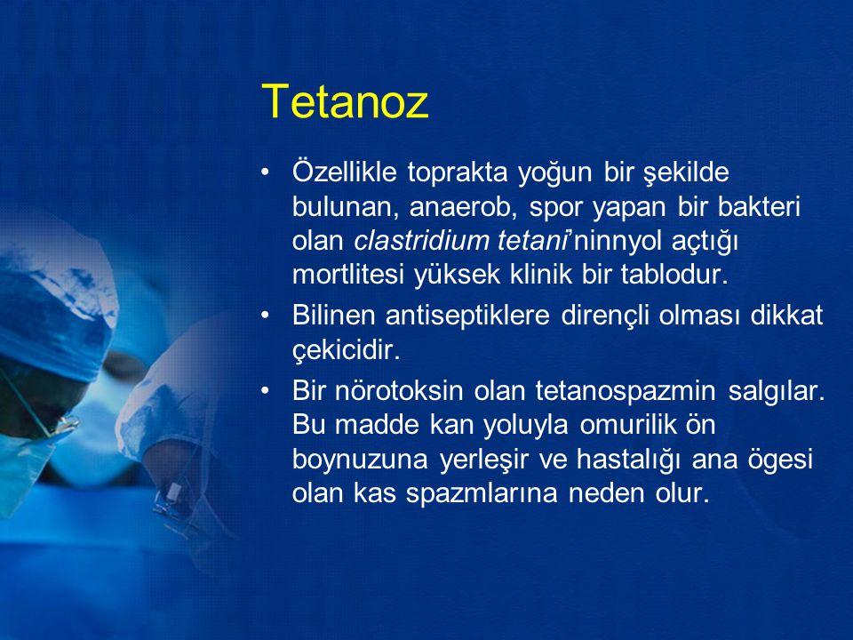 Tetanoz Özellikle toprakta yoğun bir şekilde bulunan, anaerob, spor yapan bir bakteri olan clastridium tetani'ninnyol açtığı mortlitesi yüksek klinik