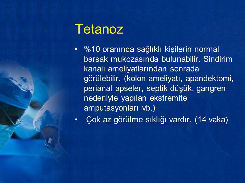 Tetanoz %10 oranında sağlıklı kişilerin normal barsak mukozasında bulunabilir. Sindirim kanalı ameliyatlarından sonrada görülebilir. (kolon ameliyatı,