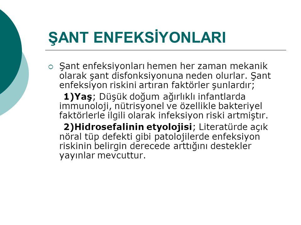 ŞANT ENFEKSİYONLARI  Şant enfeksiyonları hemen her zaman mekanik olarak şant disfonksiyonuna neden olurlar.