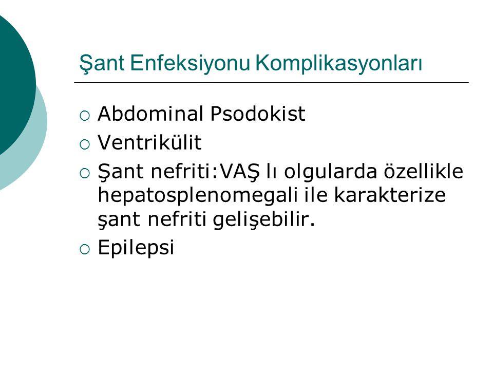 Şant Enfeksiyonu Komplikasyonları  Abdominal Psodokist  Ventrikülit  Şant nefriti:VAŞ lı olgularda özellikle hepatosplenomegali ile karakterize şant nefriti gelişebilir.