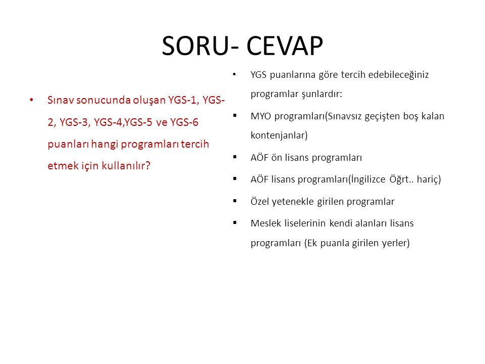 SORU- CEVAP Sınav sonucunda oluşan YGS-1, YGS- 2, YGS-3, YGS-4,YGS-5 ve YGS-6 puanları hangi programları tercih etmek için kullanılır? YGS puanlarına