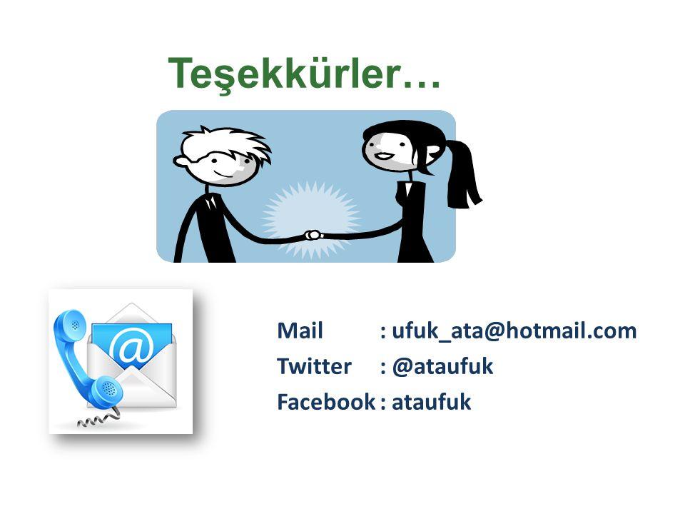 Mail: ufuk_ata@hotmail.com Twitter : @ataufuk Facebook: ataufuk Teşekkürler…