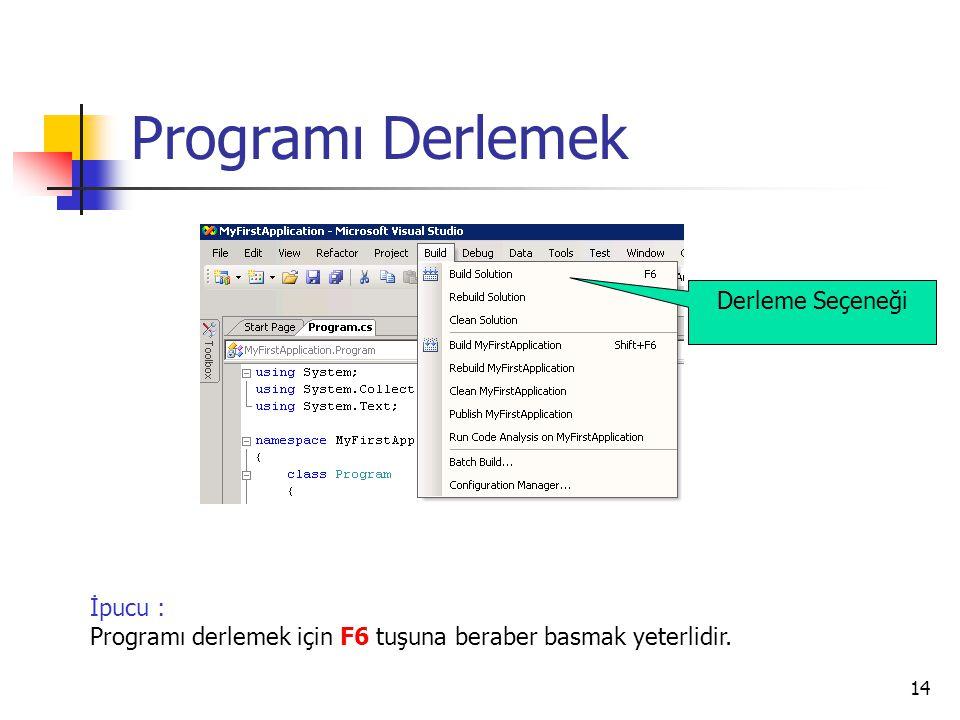 14 Programı Derlemek İpucu : Programı derlemek için F6 tuşuna beraber basmak yeterlidir. Derleme Seçeneği