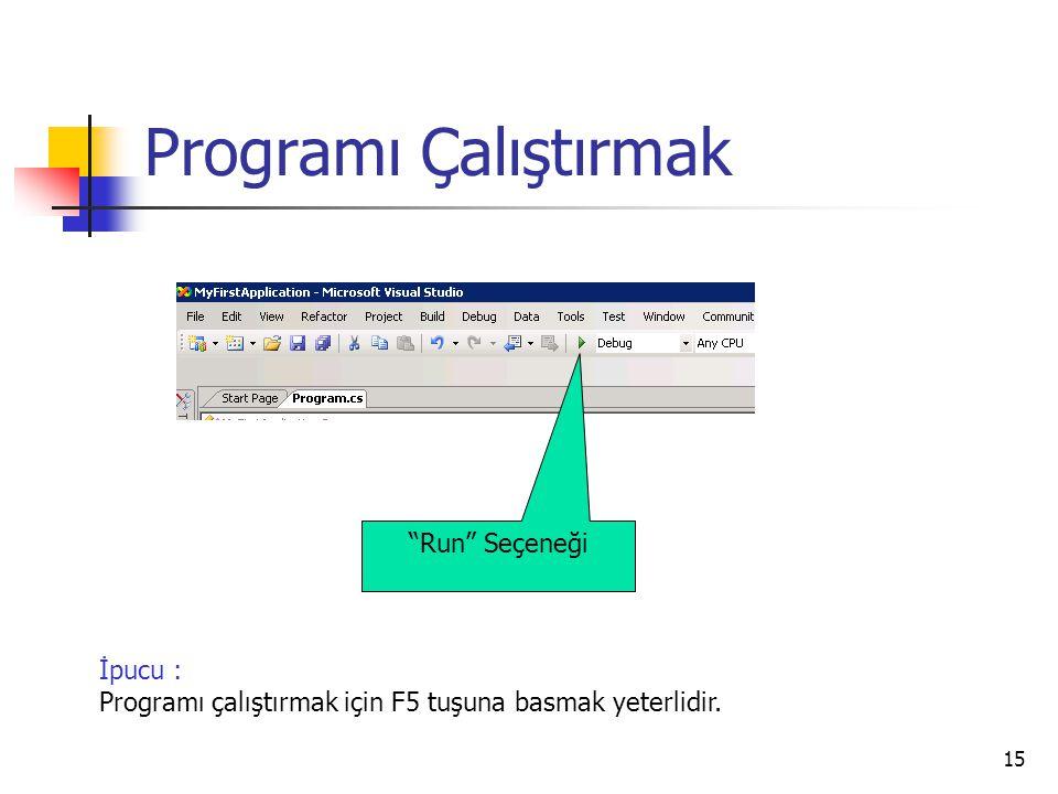 """15 Programı Çalıştırmak İpucu : Programı çalıştırmak için F5 tuşuna basmak yeterlidir. """"Run"""" Seçeneği"""