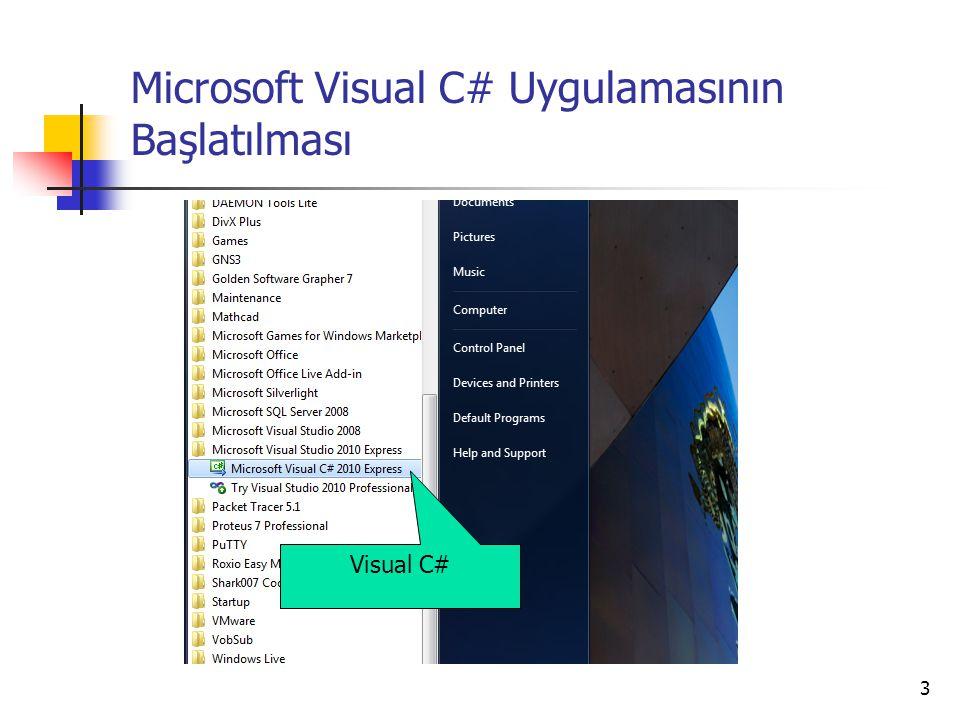 3 Microsoft Visual C# Uygulamasının Başlatılması Visual C#