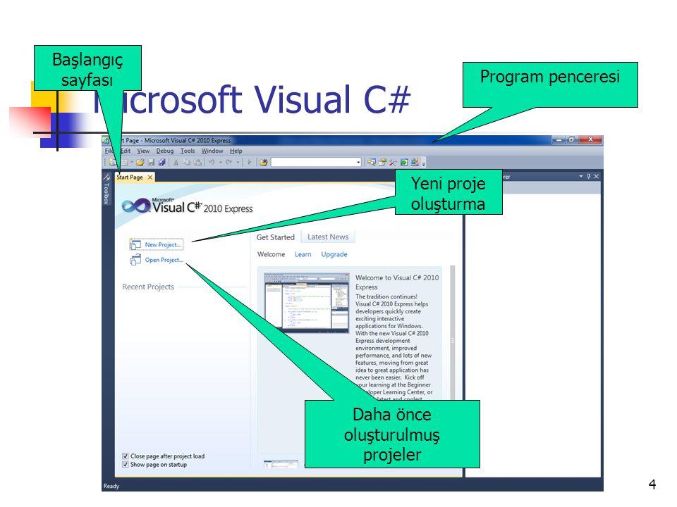 4 Microsoft Visual C# Program penceresi Daha önce oluşturulmuş projeler Yeni proje oluşturma Başlangıç sayfası