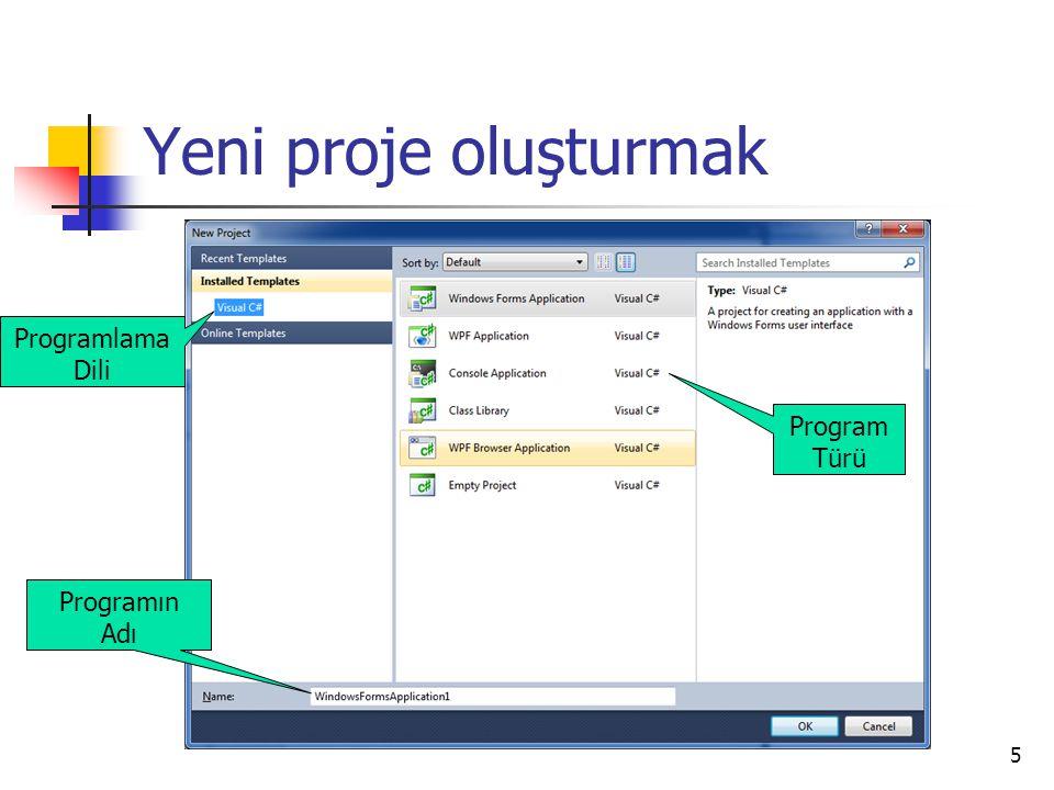 5 Yeni proje oluşturmak Programlama Dili Program Türü Programın Adı