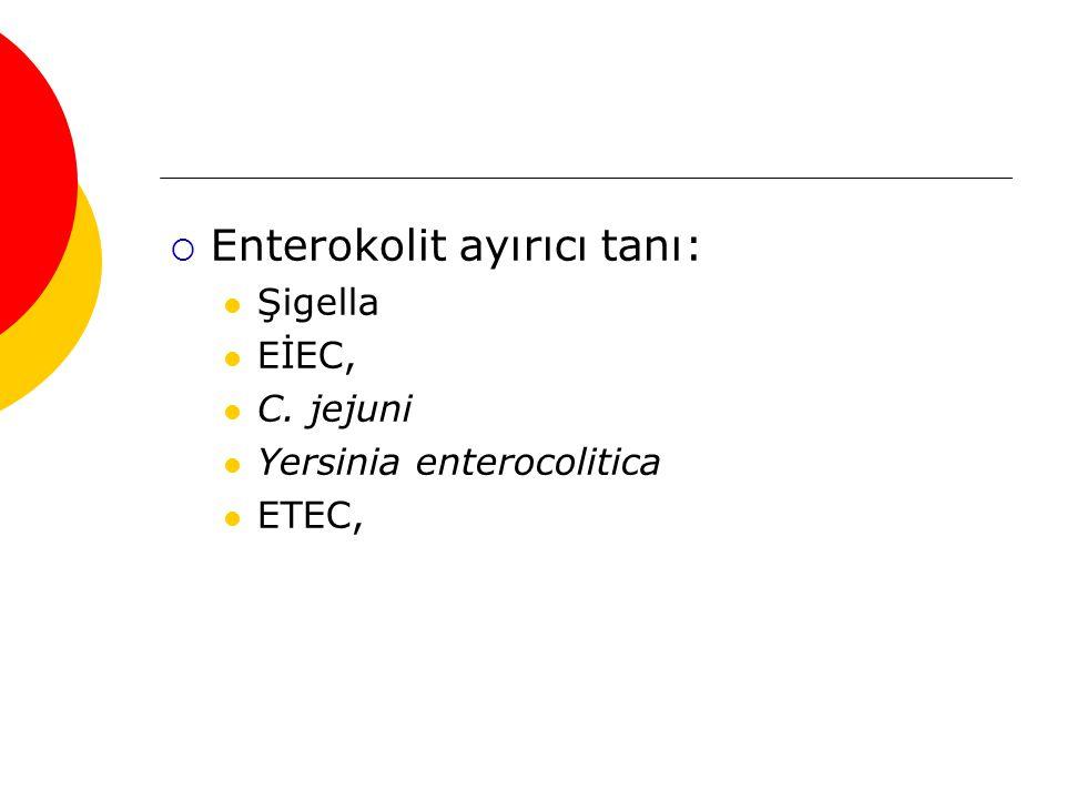  Enterokolit ayırıcı tanı: Şigella EİEC, C. jejuni Yersinia enterocolitica ETEC,