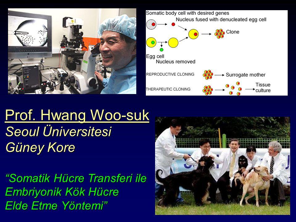 """Prof. Hwang Woo-suk Seoul Üniversitesi Güney Kore """"Somatik Hücre Transferi ile Embriyonik Kök Hücre Elde Etme Yöntemi"""""""