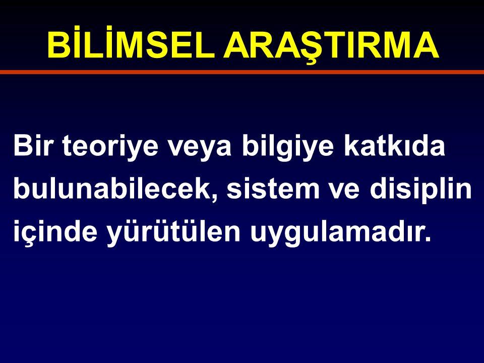 BİLİMSEL ARAŞTIRMA Bir teoriye veya bilgiye katkıda bulunabilecek, sistem ve disiplin içinde yürütülen uygulamadır.