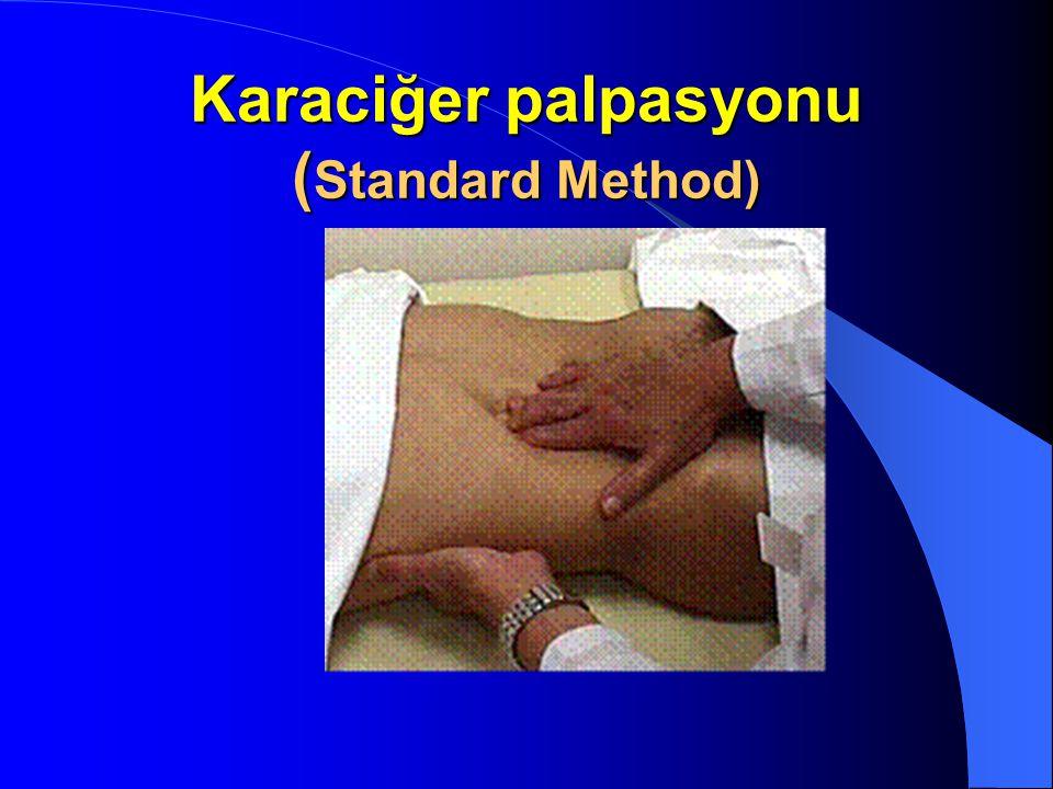 Karaciğerin palpasyonu: Hastanın sağında durulur. Sağ elle muayene edilir. Büyüklüğü orta klavikular hat üzerinde kostaya olan uzaklığı cm olarak ifad