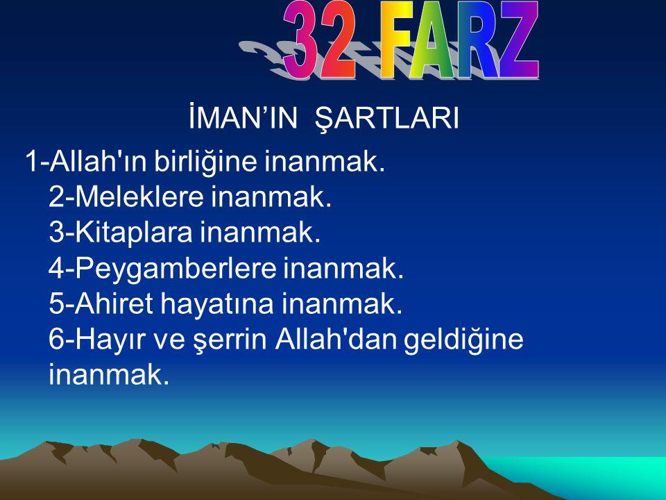 İMAN'IN ŞARTLARI 1-Allah'ın birliğine inanmak. 2-Meleklere inanmak. 3-Kitaplara inanmak. 4-Peygamberlere inanmak. 5-Ahiret hayatına inanmak. 6-Hayır v