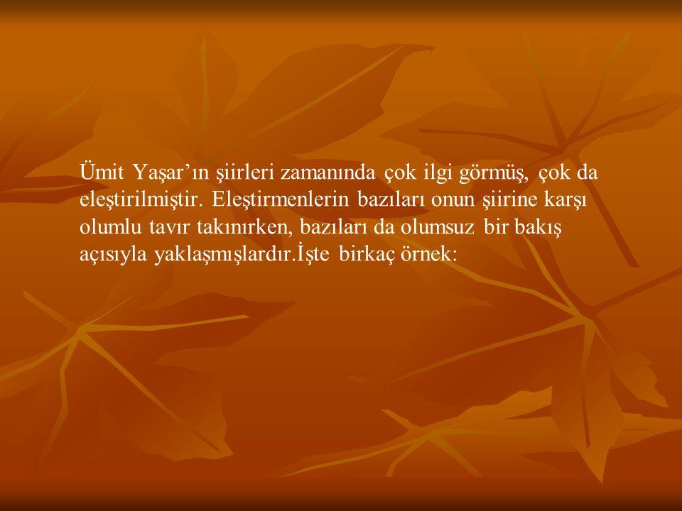 Ümit Yaşar'ın şiirleri zamanında çok ilgi görmüş, çok da eleştirilmiştir. Eleştirmenlerin bazıları onun şiirine karşı olumlu tavır takınırken, bazılar