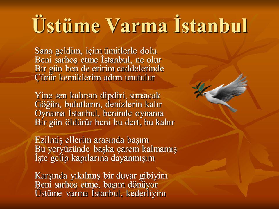 Sana geldim, içim ümitlerle dolu Beni sarhoş etme İstanbul, ne olur Bir gün ben de eririm caddelerinde Çürür kemiklerim adım unutulur Yine sen kalırsı