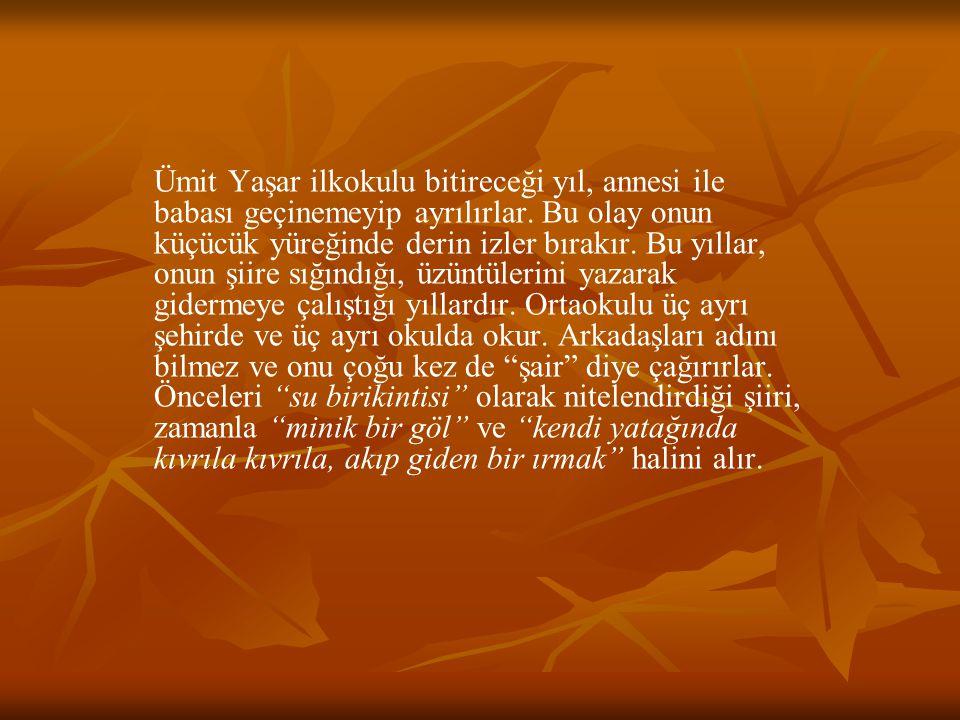 Konya'da başlayıp Eskişehir'de tamamladığı lise öğrenimi sırasında ondaki şiir bir özenti olmaktan çıkmış, büyük bir tutku halini almıştır.