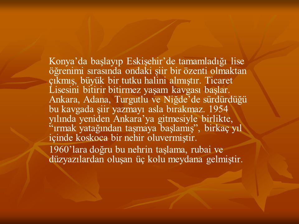 Konya'da başlayıp Eskişehir'de tamamladığı lise öğrenimi sırasında ondaki şiir bir özenti olmaktan çıkmış, büyük bir tutku halini almıştır. Ticaret Li