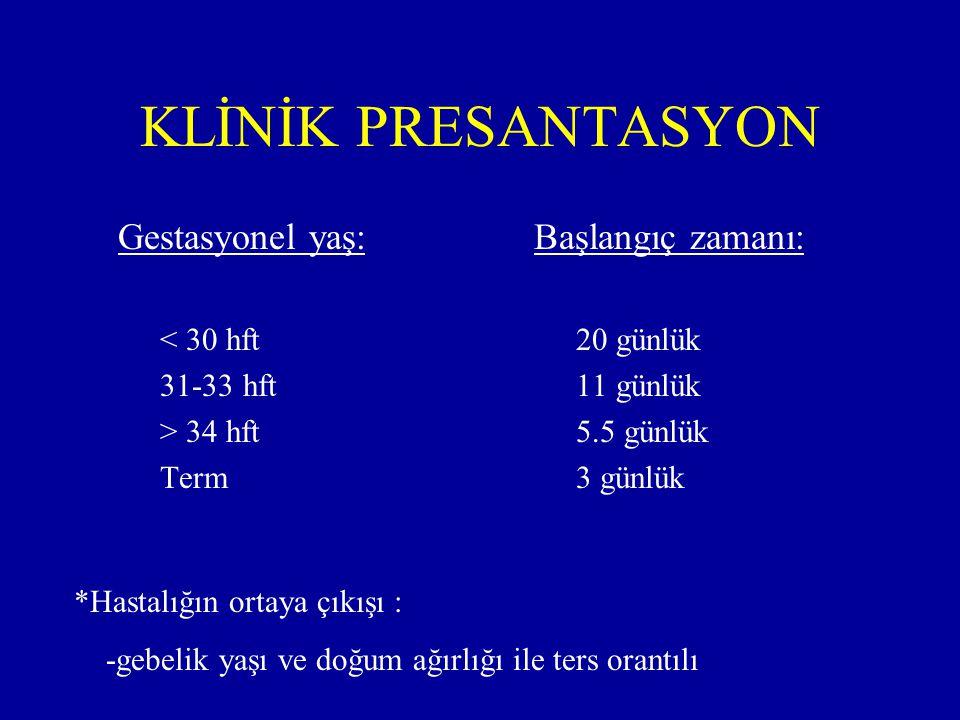 KLİNİK PRESANTASYON Gestasyonel yaş: < 30 hft 31-33 hft > 34 hft Term Başlangıç zamanı: 20 günlük 11 günlük 5.5 günlük 3 günlük *Hastalığın ortaya çık
