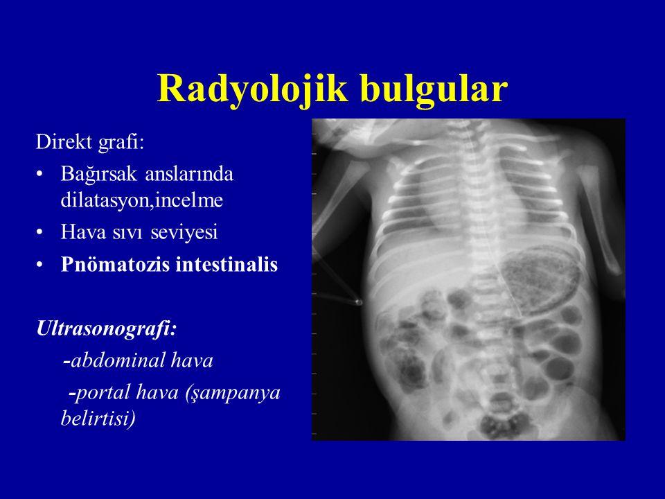 Radyolojik bulgular Direkt grafi: Bağırsak anslarında dilatasyon,incelme Hava sıvı seviyesi Pnömatozis intestinalis Ultrasonografi: -abdominal hava -p