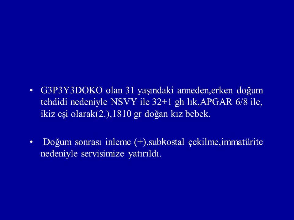 G3P3Y3DOKO olan 31 yaşındaki anneden,erken doğum tehdidi nedeniyle NSVY ile 32+1 gh lık,APGAR 6/8 ile, ikiz eşi olarak(2.),1810 gr doğan kız bebek. Do