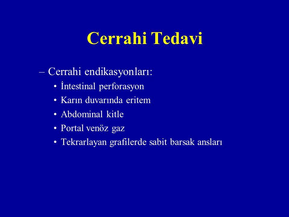Cerrahi Tedavi –Cerrahi endikasyonları: İntestinal perforasyon Karın duvarında eritem Abdominal kitle Portal venöz gaz Tekrarlayan grafilerde sabit ba