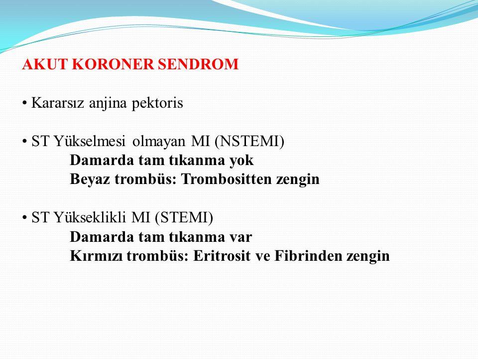 AKUT KORONER SENDROM Kararsız anjina pektoris ST Yükselmesi olmayan MI (NSTEMI) Damarda tam tıkanma yok Beyaz trombüs: Trombositten zengin ST Yüksekli