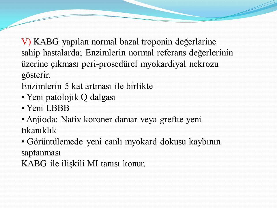 V) KABG yapılan normal bazal troponin değerlarine sahip hastalarda; Enzimlerin normal referans değerlerinin üzerine çıkması peri-prosedürel myokardiya